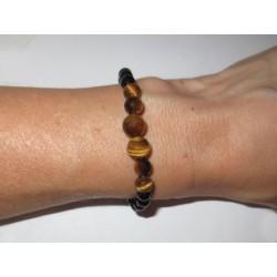 Schwarzer Turmalin (Schörl)-Tigerauge Edelsteinperlen-Armband