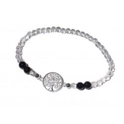 Bergkristall-Schwarzer Turmalin (Schörl) Edelsteinperlen-Armband mit Lebensbaum 925 Silber
