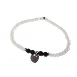 Bergkristall schwarzer Turmalin (Schörl) Edelsteinperlen-Armband