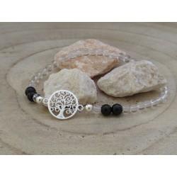 Bergkristall-schwarzer Turmalin (Schörl) Edelsteinperlen-Armband mit Baum des Lebens Symbol 925 Silber