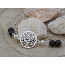 Bergkristall-schwarzer Turmalin (Schörl) Edelsteinperlen-Armband mit Baum des Lebens Symbol in 925 Silber