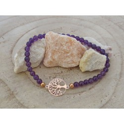 Amethyst Edelsteinperlen-Armband mit Baum des Lebens in 925 Silber rosevergoldet