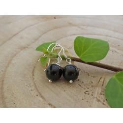 Ohrringe echt Silber mit schwarzen Turmalinkugeln 10 mm