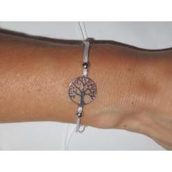 Baum des Lebens Armband 925 Silber rhodiniert mit weißer Kordel größenverstellbar