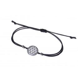 Blume des Lebens Armband 925 Silber rhodiniert mit schwarzer Kordel größenverstellbar