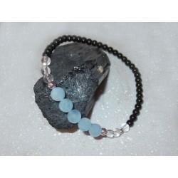 Aquamarin Edelstein-Armband mit schwarzem Turmalin und Bergkristall in 925 Silber rhodiniert