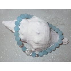Aquamarin Edelstein-Armband mit Bergkristallperle in 925 Silber rhodiniert