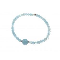 Aquamarin Edelstein-Armband in 925 Silber rhodiniert