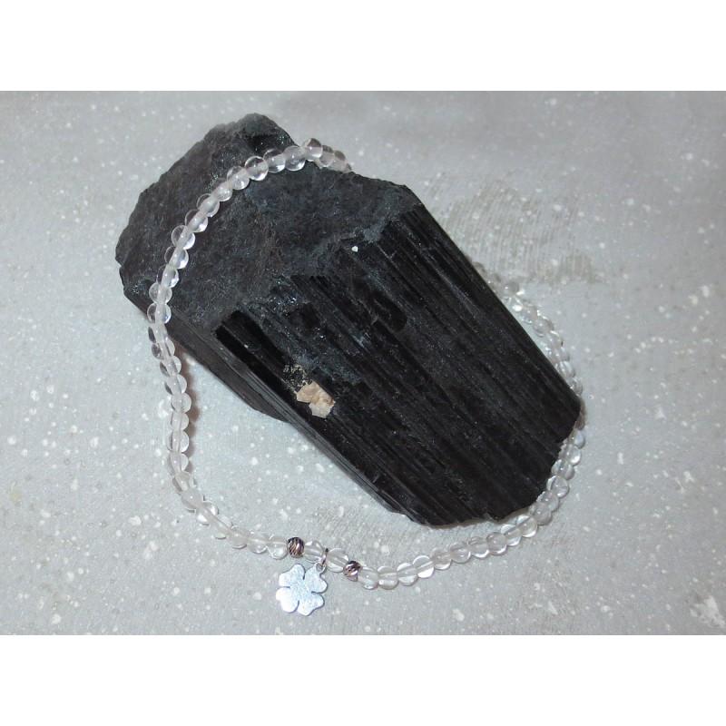 Bergkristall Edelsteinperlen-Armband 3 mm mit Kleeblatt Anhänger in 925 Silber rhodiniert