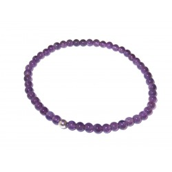 Amethyst Perlen-Armband 925 Silber rhodiniert