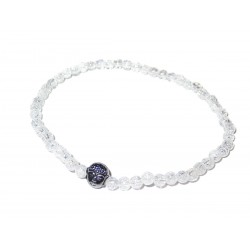 Bergkristall geblitzt Perlen-Armband Buddha Kopf schwarz