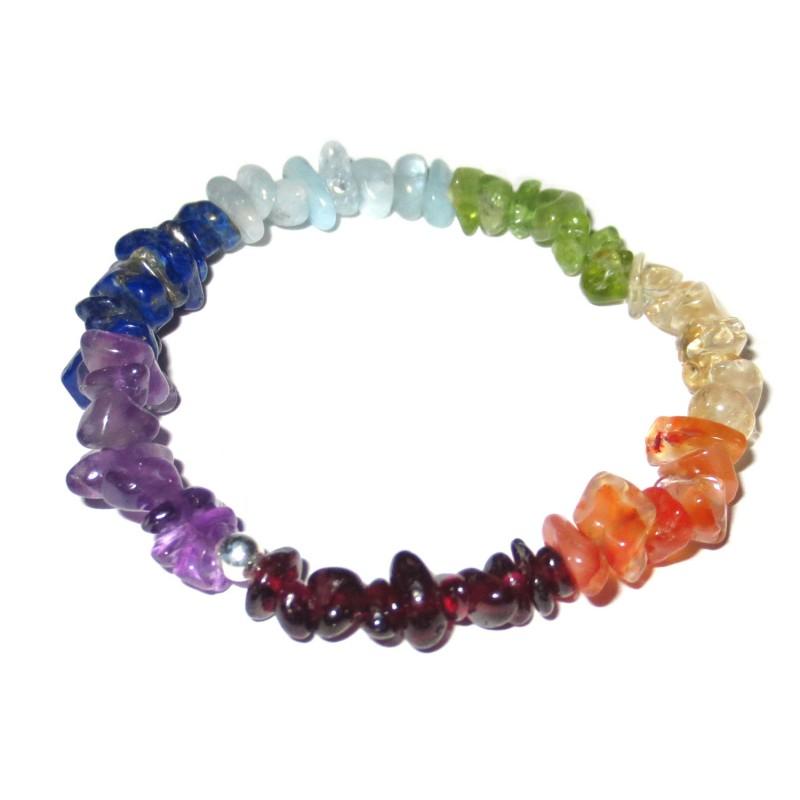 Chakra Edelsteinsplitter-Armband in sieben Farben ohne Hintergrund
