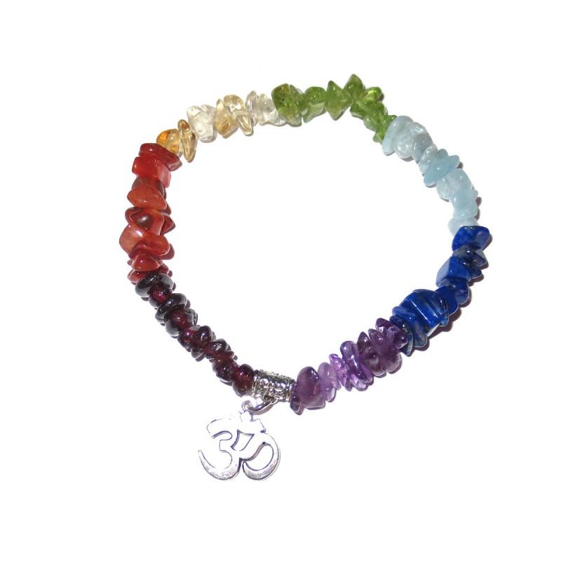 Chakra Edelsteinsplitter-Armband in sieben Farben mit Om Symbol