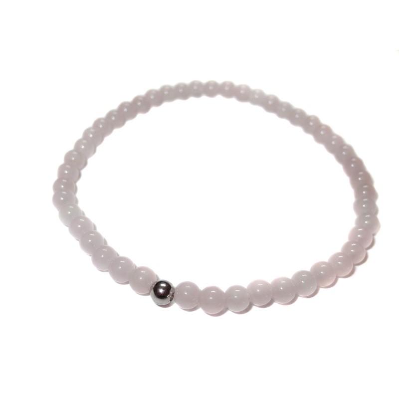 Rosenquarz Perlen-Armband 4 mm mit Kaschierkugel in 925 Silber