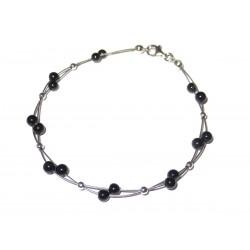 Schwarzer Turmalin-Perlen-Armband mit Silberkugeln auf Schmuckdraht