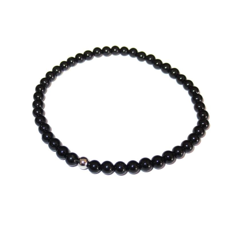 Schwarzer Turmalin Perlen-Armband 4 mm mit Kaschierkugel in 925 Silber