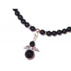 Schwarzer Turmalin Perlen-Armband 4 mm mit Miniengel Detail