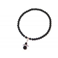 Schwarzer Turmalin Perlen-Armband 4 mm mit Miniengel