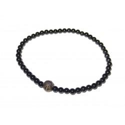 Schwarzer Turmalin (Schörl) Perlen-Armband mit kleinem Buddhakopf