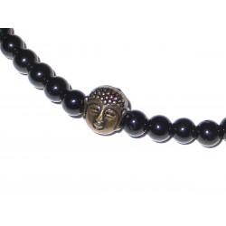 Schwarzer Turmalin (Schörl) Perlen-Armband mit kleinem Buddhakopf Detail
