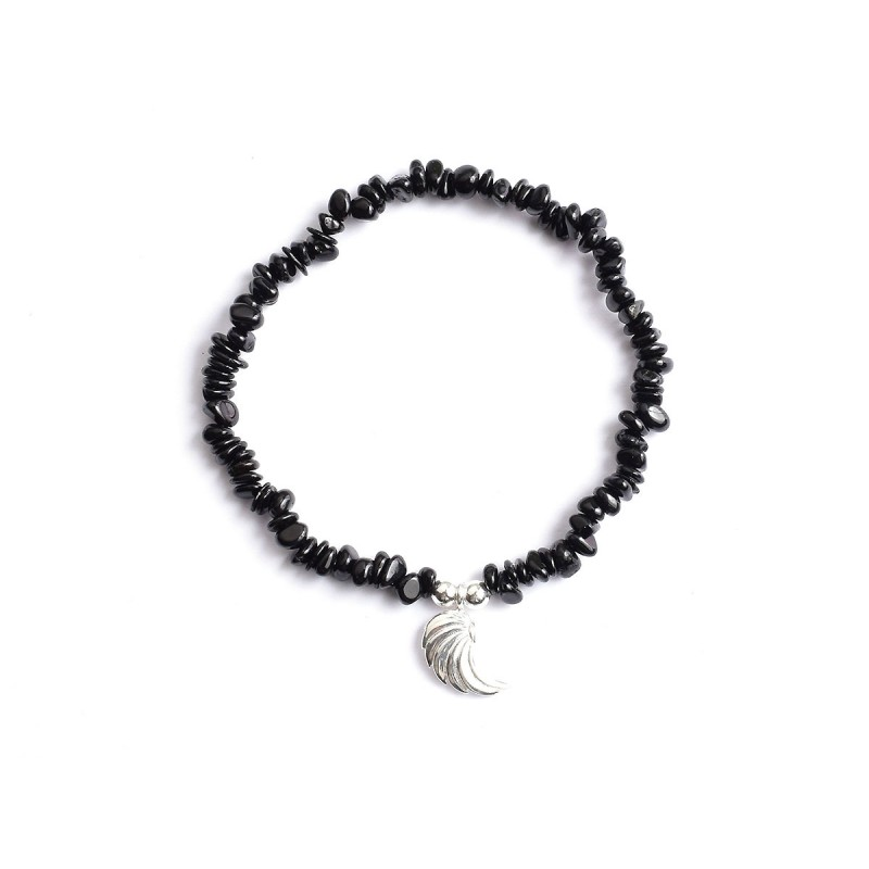 Schwarzer Turmalin Perlen-Armband 4 mm mit Engelsflügel Hagiel