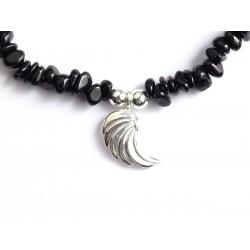 Schwarzer Turmalin Perlen-Armband 4 mm mit Engelsflügel Hagiel Detail