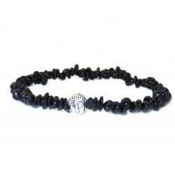 Schwarzer Turmalin Perlen-Armband mit silberfarbenen Buddhakopf