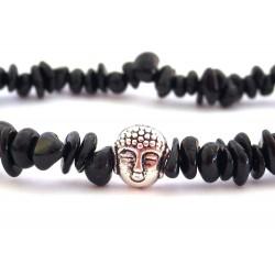 Schwarzer Turmalin Perlen-Armband mit silberfarbenen Buddhakopf Detail
