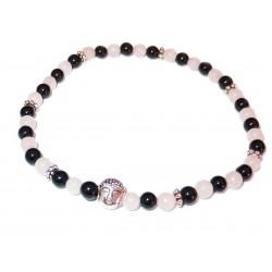 Schwarzer Turmalin Rosenquarz Perlen-Armband mit kleinem Buddhakopf silberfarben