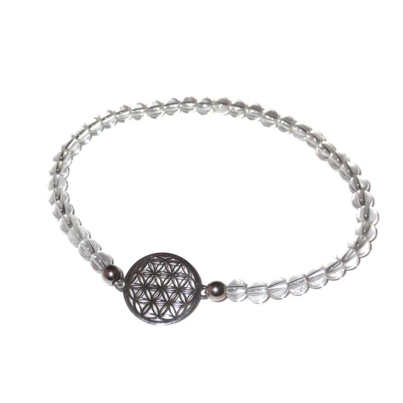 Bergkristall Perlen-Armband mit Blume des Lebens 925 Silber ohne Maßband