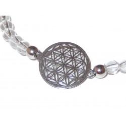 Bergkristall Perlen-Armband mit Blume des Lebens 925 Silber mit Maßband