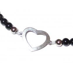schwarzer Turmalin Perlen-Armband mit Herz Symbol 925 Silber Detail