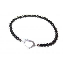 schwarzer Turmalin Perlen-Armband mit Herz Symbol 925 Silber ohne Maßband