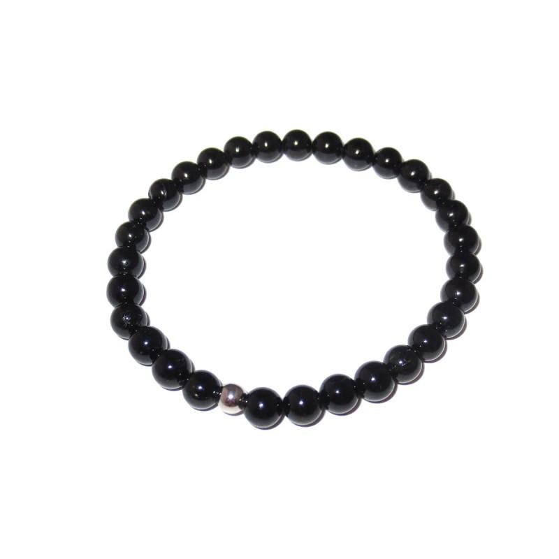 Schwarzer Turmalin Perlen-Armband 6 mm mit Kaschierkugel in 925 Silber