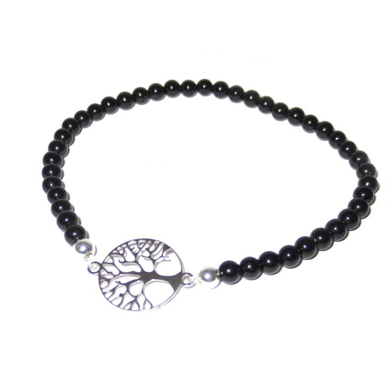 schwarzer Turmalin Perlen-Armband mit Baum des Lebens 925 Silber ohne Maßband