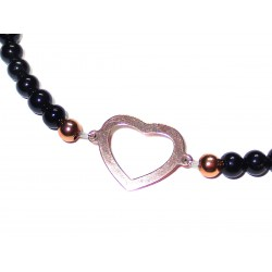 schwarzer Turmalin Perlen-Armband mit Baum des Lebens 925 Silber rosevergoldet Detail