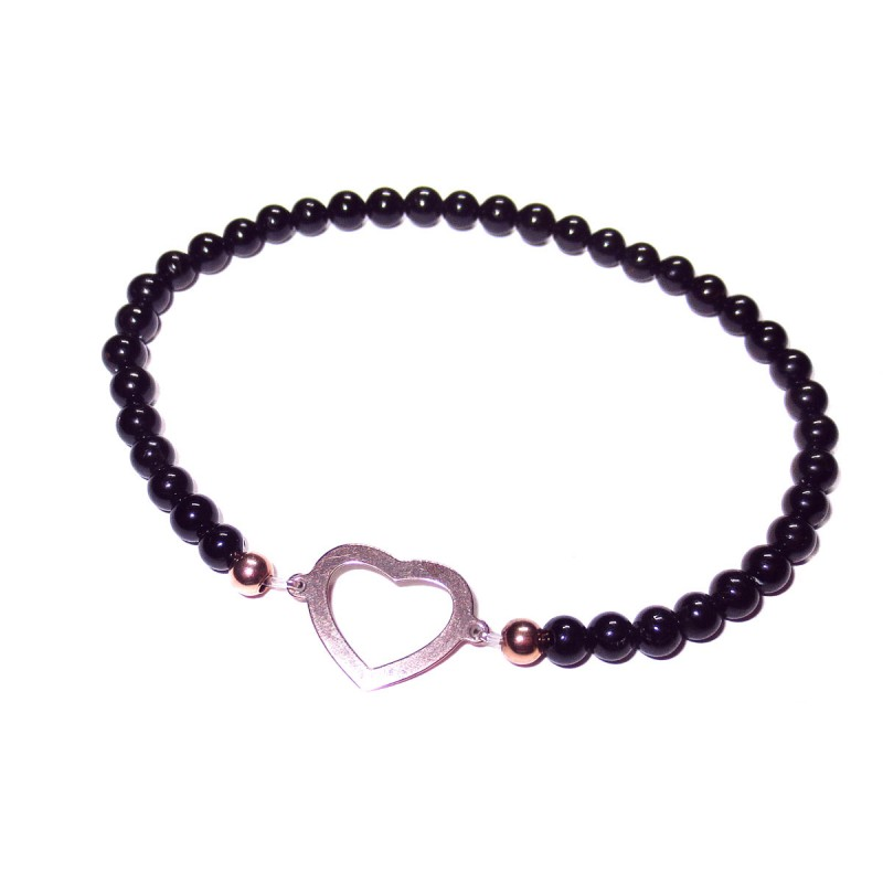 schwarzer Turmalin Perlen-Armband mit Baum des Lebens 925 Silber rosevergoldet ohne Maßband