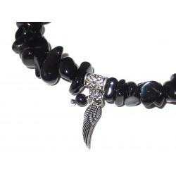 schwarzer Turmalin Splitter-Armband mit Engelsflügel Detail
