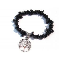 schwarzer Turmalin Splitter-Armband mit Baum des Lebens ohne Maßband
