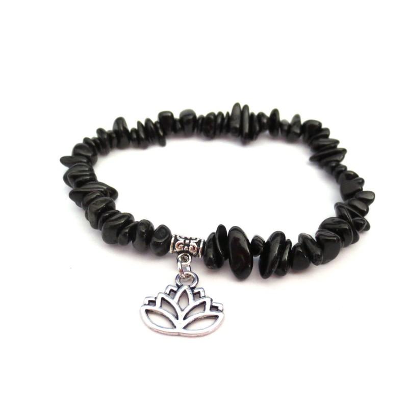 schwarzer Turmalin Splitter-Armband mit Lotusblüte ohne Maßband