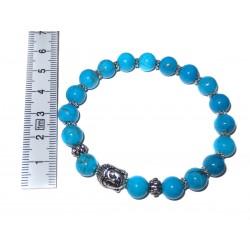 Turquenit Perlen-Armband mit Buddhakopf mit Maßband