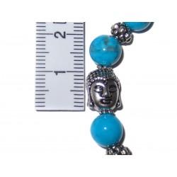 Turquenit Perlen-Armband mit Buddhakopf mit Maßband Detail