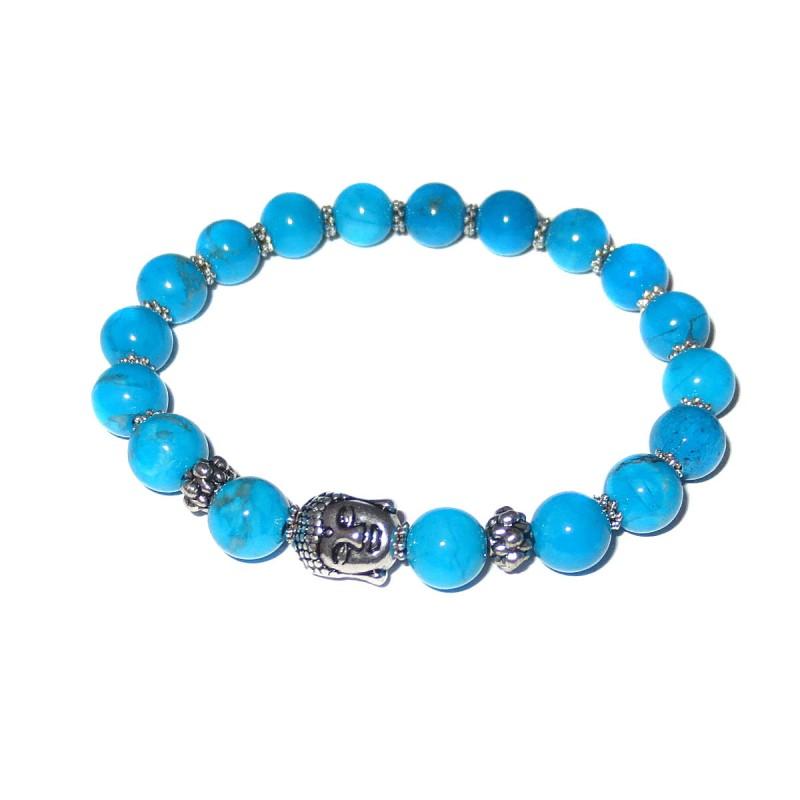 Turquenit Perlen-Armband mit Buddhakopf ohne Maßband