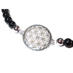 schwarzer Turmalin Perlen-Armband mit Blume des Lebens 925 Silber ohne Maßband Detail
