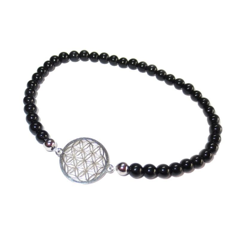 schwarzer Turmalin Perlen-Armband mit Blume des Lebens 925 Silber ohne Maßband