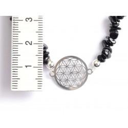 schwarzer Turmalin Splitter-Armband mit Blume des Lebens 925 Silber mit Maßband