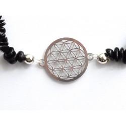 schwarzer Turmalin Splitter-Armband mit Blume des Lebens 925 Silber ohne Maßband Detail
