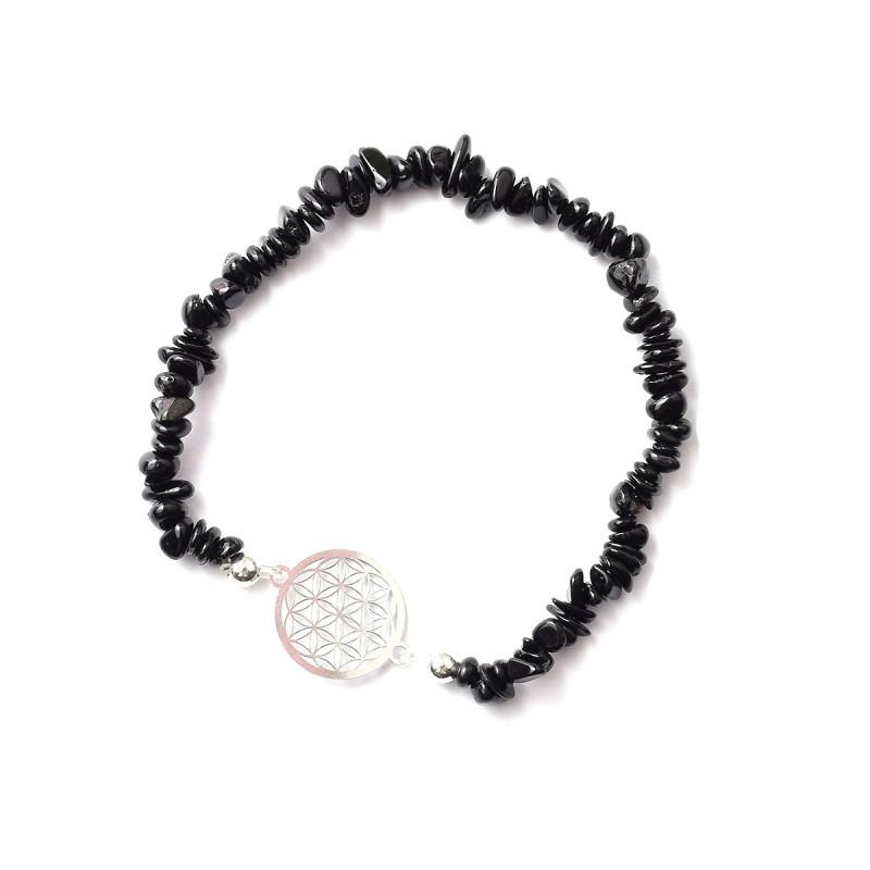 schwarzer Turmalin Splitter-Armband mit Blume des Lebens 925 Silber ohne Maßband