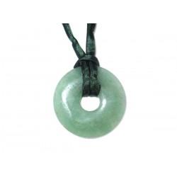 Donut Anhänger Aventurin grün 30 mm Beispielbild mit Band