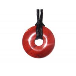 Donut Anhänger roter Jaspis 30 mm mit Band